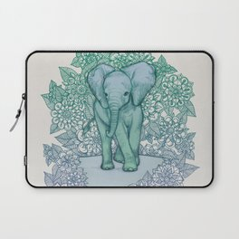Emerald Elephant in the Lilac Evening Laptop Sleeve