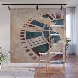 Peach Pink and Night Blue Clock Face Wall Mural