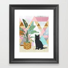 Black Cat Collage Framed Art Print