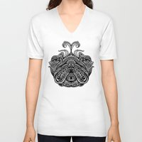 henna V-neck T-shirts featuring Henna of Pugly by Huebucket
