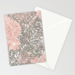 Floral Dahlias, Blush Pink, Gray, White Stationery Cards