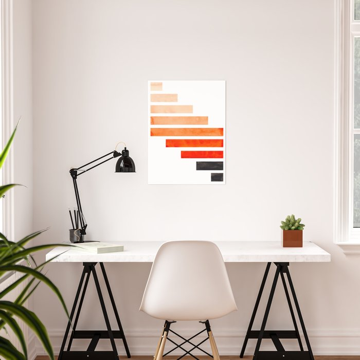 Orange Minimalist Mid Century Modern Inca Watercolor Stripes Staggered Symmetrical Pattern Poster
