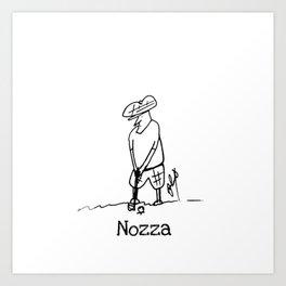Golfing Nozza Art Print
