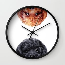Toy poodle, black & Brown. Original by miart Wall Clock