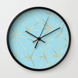 blue pastel and gold polygon Wall Clock