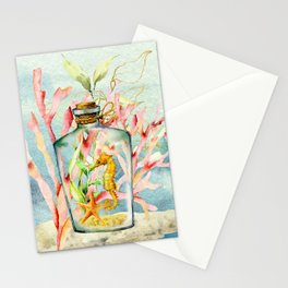 Watercolor Under Sea Collection: Seahorse in Bottle Stationery Cards