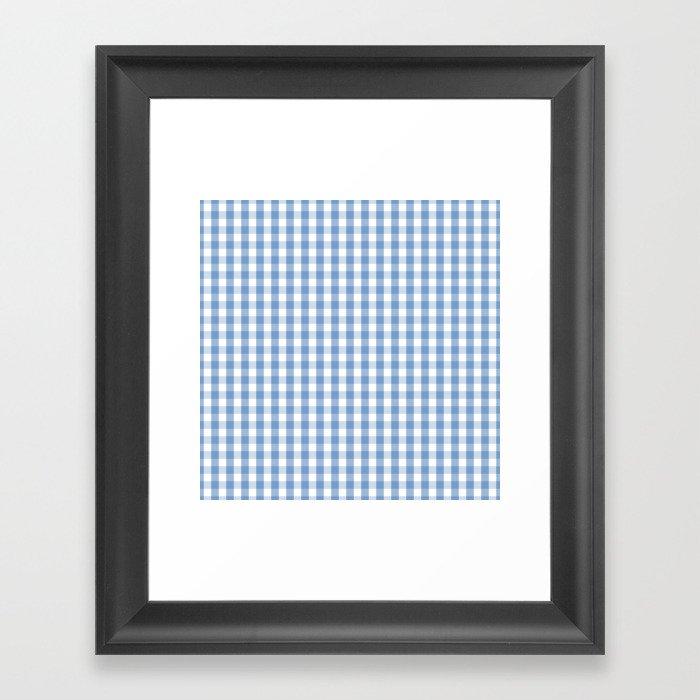 Classic Pale Blue Pastel Gingham Check Gerahmter Kunstdruck