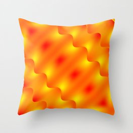 Bright pattern of blurry red and gold lines and curly patterns. Throw Pillow