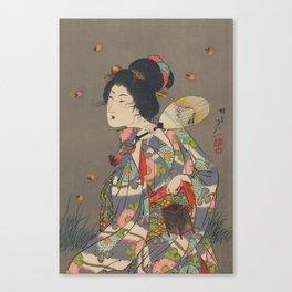 Japanese Art Print - Woman and Fireflies Canvas Print