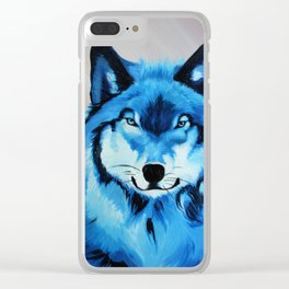Blue Wolf Clear iPhone Case