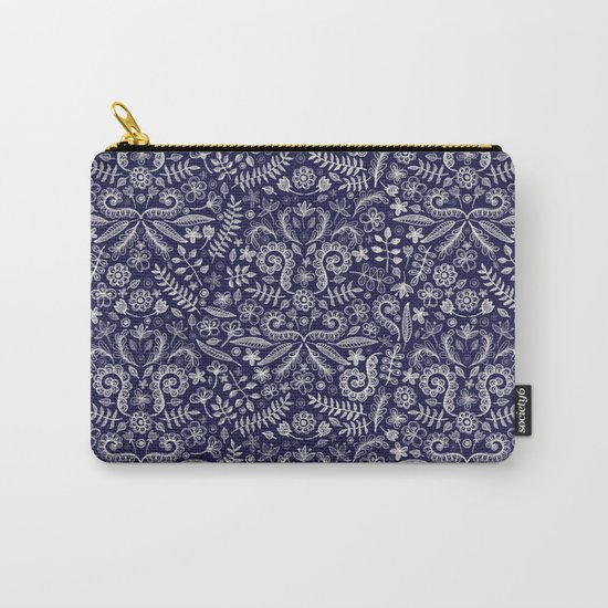 Chalkboard Floral Doodle Pattern in Navy & Cream Carry-All Pouch
