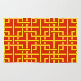 Tangled squares Chinoiserie in Chinese flag's colors Rug