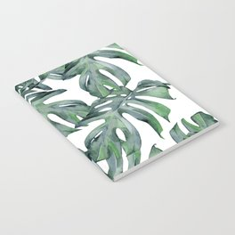 Tropical Palm Leaves Green and White Notebook