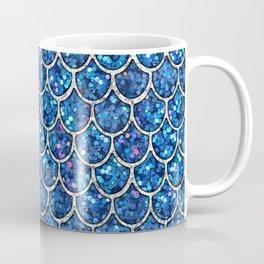 Sparkly Blue & Silver Glitter Mermaid Scales Coffee Mug