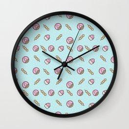 Cute funny teal blush pink food sweet donuts polka dots Wall Clock