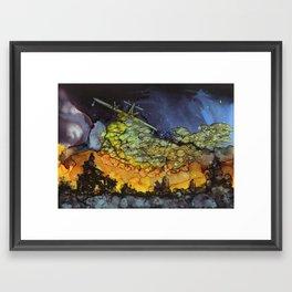 Water bomber - alcohol ink Framed Art Print