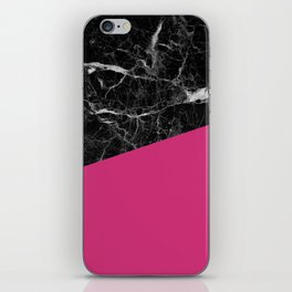 Black Marble and Pink Yarrow Color iPhone Skin