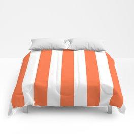 Smashed Pumpkin orange - solid color - white vertical lines pattern Comforters