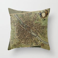 Old Paris Map and other manuscripts Throw Pillow