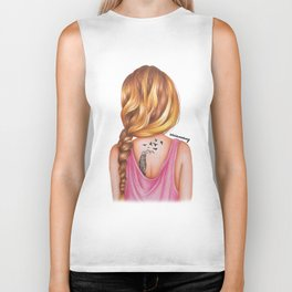 Blonde Rope Braid Girl Drawing Biker Tank