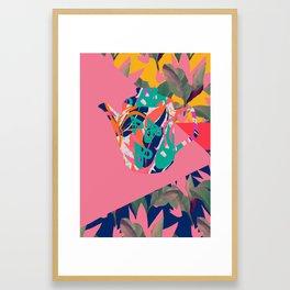 Jungle Pop! Color Block Retro Teapot Framed Art Print