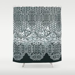 lace border with floral and geo mix monochrome Shower Curtain