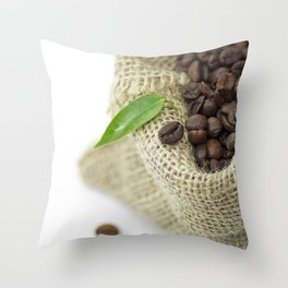 Coffee beans in still life  in jute sack Throw Pillow