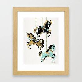 Carousel Horses – Mint & Gold Palette Framed Art Print