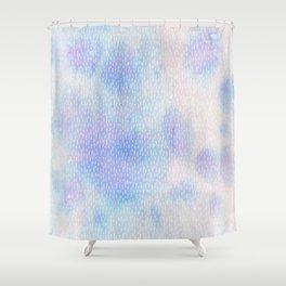 White Dots + Iridescence Blue Shower Curtain
