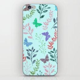 Watercolor flowers & butterflies II iPhone Skin