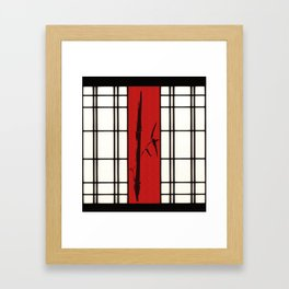 Shoji with bamboo ink painting Framed Art Print