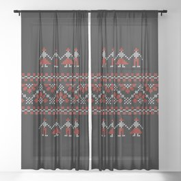 Traditional Romanian white & red cross-stitch people on black Sheer Curtain