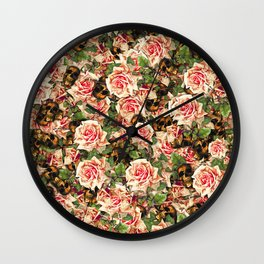 Roses and Skulls Pattern Floral Botanical Wall Clock