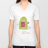shoe V-neck T-shirts featuring Shoe Monster by Firecatcher