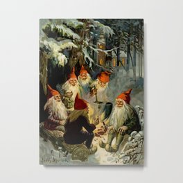 """""""Campfire Cooking"""" Tomten by Jenny Nystrom Metal Print"""