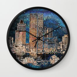Starry night in Baltimore Wall Clock