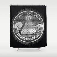 illuminati Shower Curtains featuring Taco Illuminati by Threaded Hare Productions