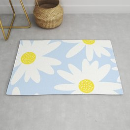 Beautiful White Retro Daisy Flowers Pastel Blue Background #decor #society6 #buyart Rug