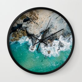 Ocean Waves Crushing, Drone Photography, Aerial Landscape Photo, Large Printable Photography, Ocean Wall Clock
