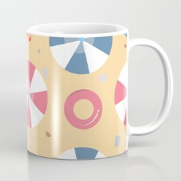 Summer Seamless Pattern. Beach with umbrellas and other summer elements Coffee Mug