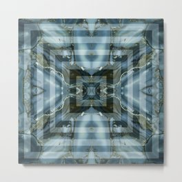 Geometric marbled stylish art squares design for home ornament. Metal Print