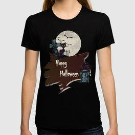 Vintage Halloween Cemetery Cat T-shirt