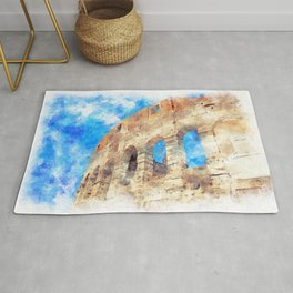 part of the Colosseum, Rome, Italy, summer Rug