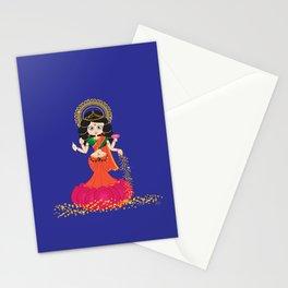 Goddess Lakshmi blue background Stationery Cards