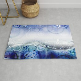 Abstract sheet music design background with musical notes Rug