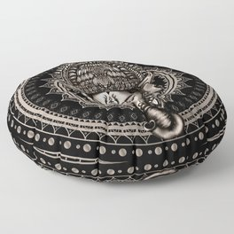 Lord Ganesha - Sepia Black Floor Pillow