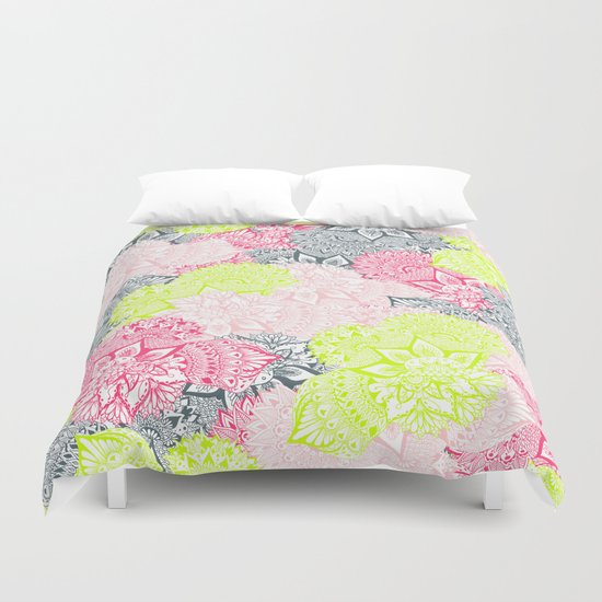 Bright neon yellow henna floral paisley pattern  Duvet Cover