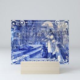 Portuguese blue tile art Mini Art Print