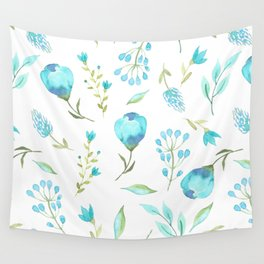 Blue watercolor flowers Wall Tapestry