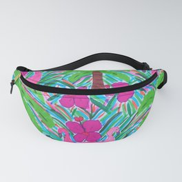 Beach Party with Palms and Flamingos Fanny Pack